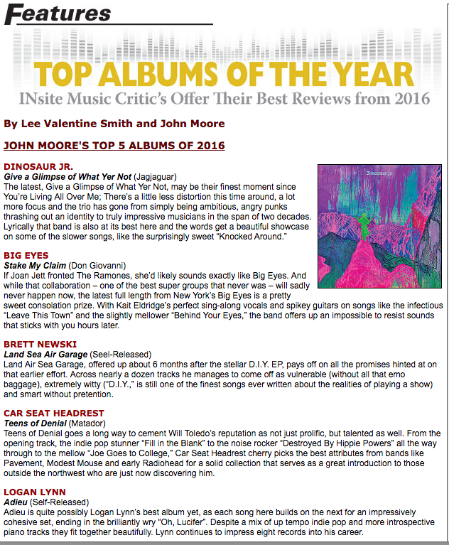 INsite Magazine Top 5 Albums of 2016 - Logan Lynn - ADIEU