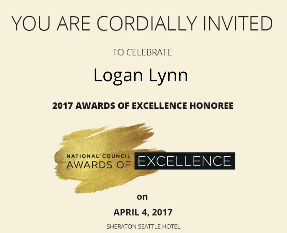Logan Lynn 2017 Awards of Excellence Honoree