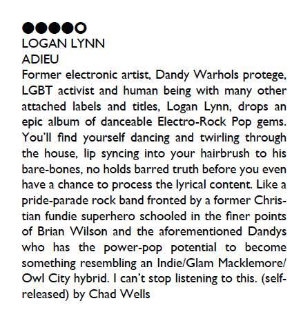 Logan Lynn ADIEU Review in Ghettoblaster Magazine (2017)