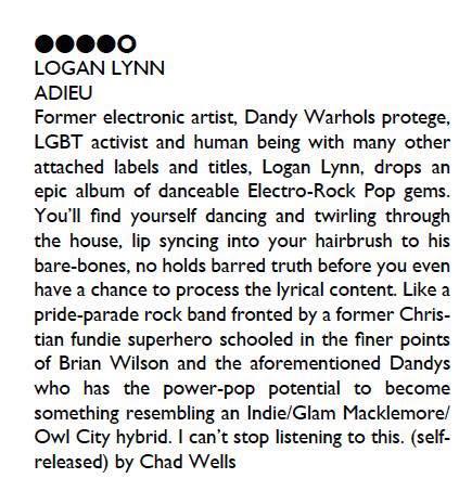 Logan Lynn ADIEU Review in Ghettoblaster Magazine (2017)
