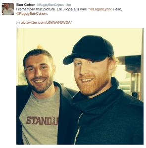 Ben Cohen Tweet to Logan Lynn