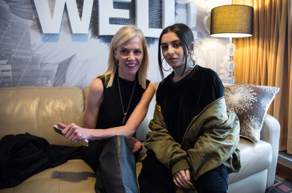 Charli XCX and Sheila Hamilton in Logan Lynn's Keep Oregon Well Greenroom in Portland